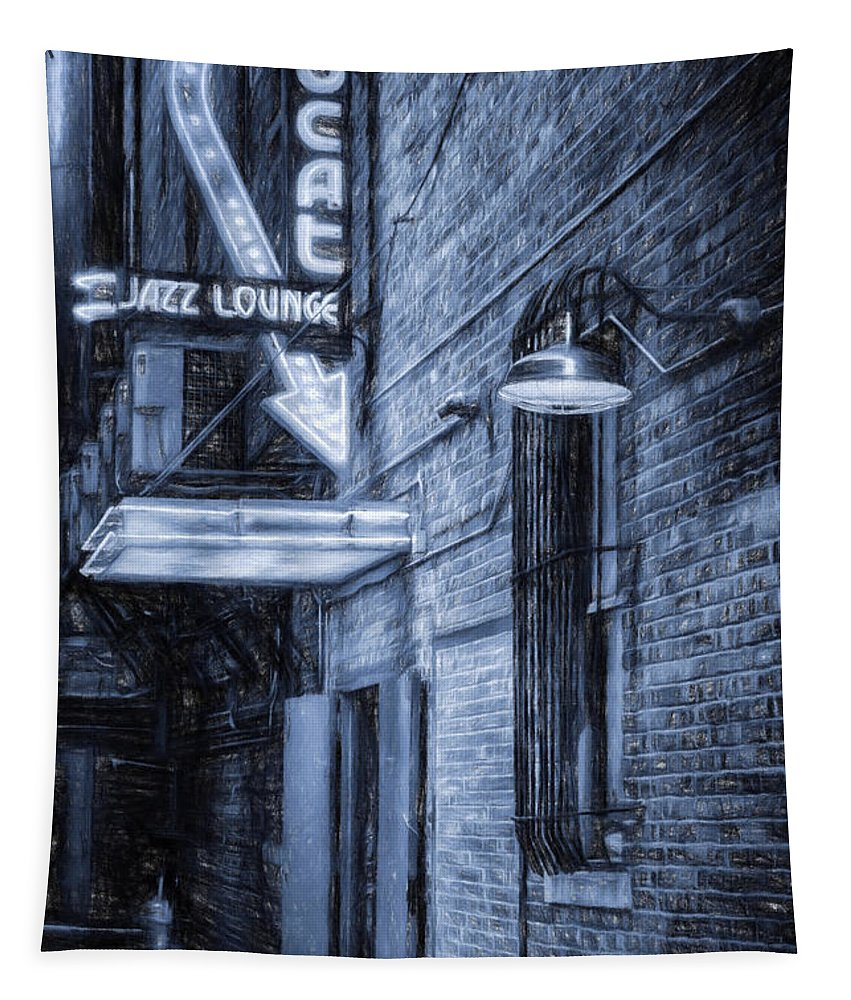 Scat Lounge Tapestry featuring the photograph Fort Worth Impressions Scat Lounge Bw by Joan Carroll
