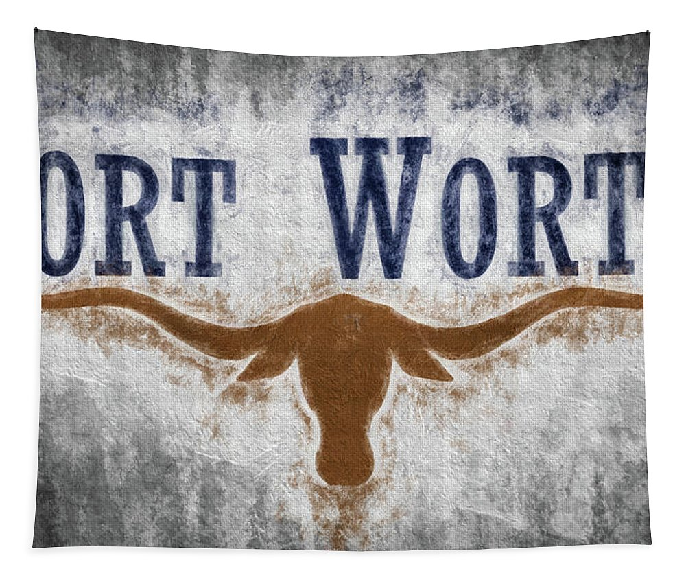 Fort Worth Tapestry featuring the digital art Fort Worth Texas Flag by JC Findley