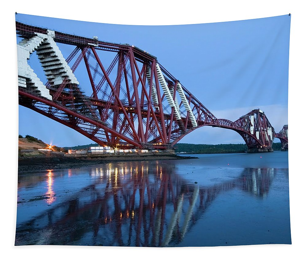 Bridge Tapestry featuring the photograph Forth Railway Bridge In Edinburg Scotland by Michalakis Ppalis