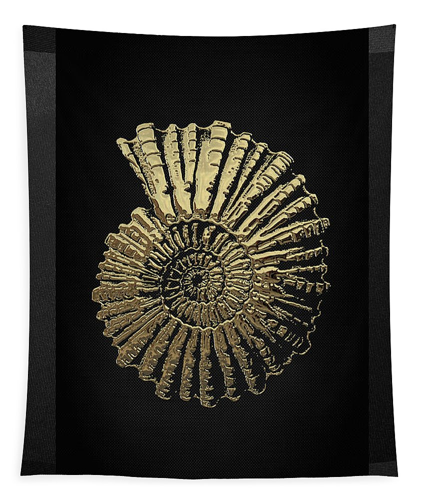 'fossil Record' Collection By Serge Averbukh Tapestry featuring the digital art Fossil Record - Golden Ammonite On Black by Serge Averbukh