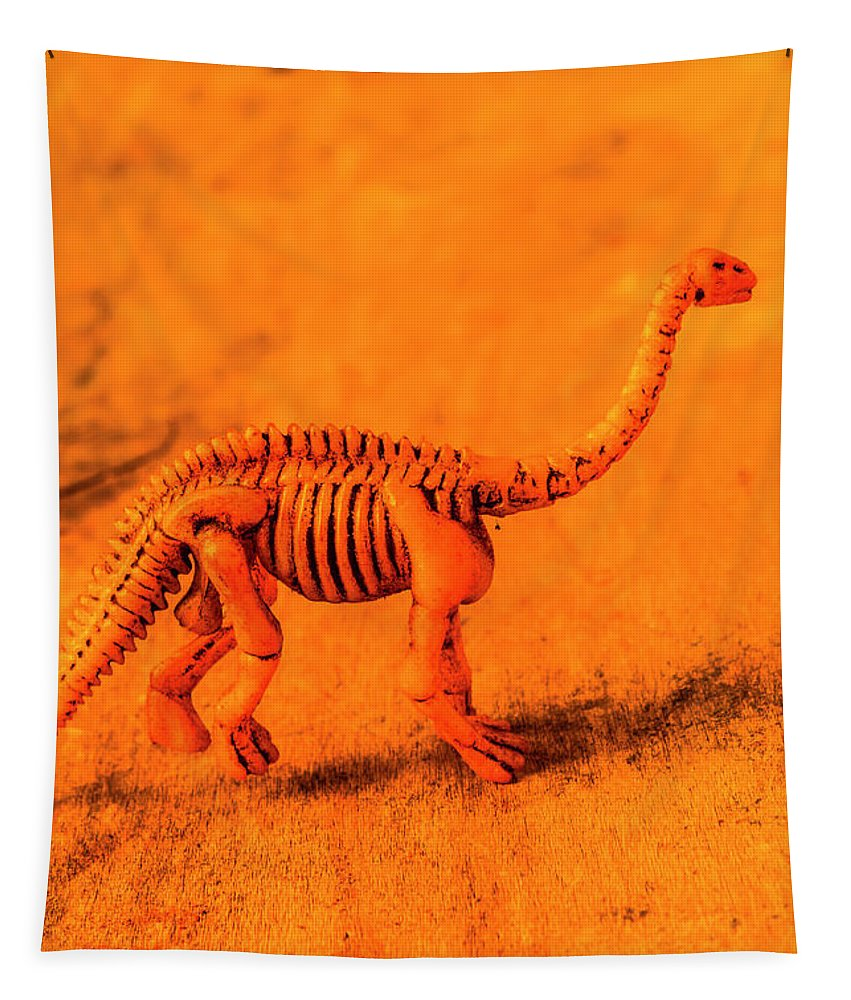 Ancient Tapestry featuring the photograph Fossilised Exhibit In Toy Dinosaurs by Jorgo Photography - Wall Art Gallery