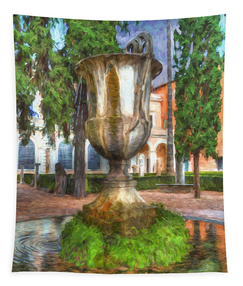 Fountain Tapestry featuring the photograph Fountain At National Roman Museum by Darin Williams
