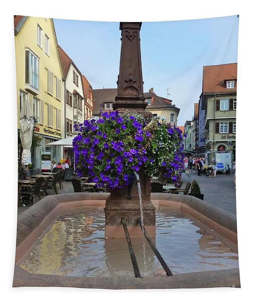 Fountain Tapestry featuring the photograph Fountain In Wertheim, Germany by Barbie Corbett-Newmin