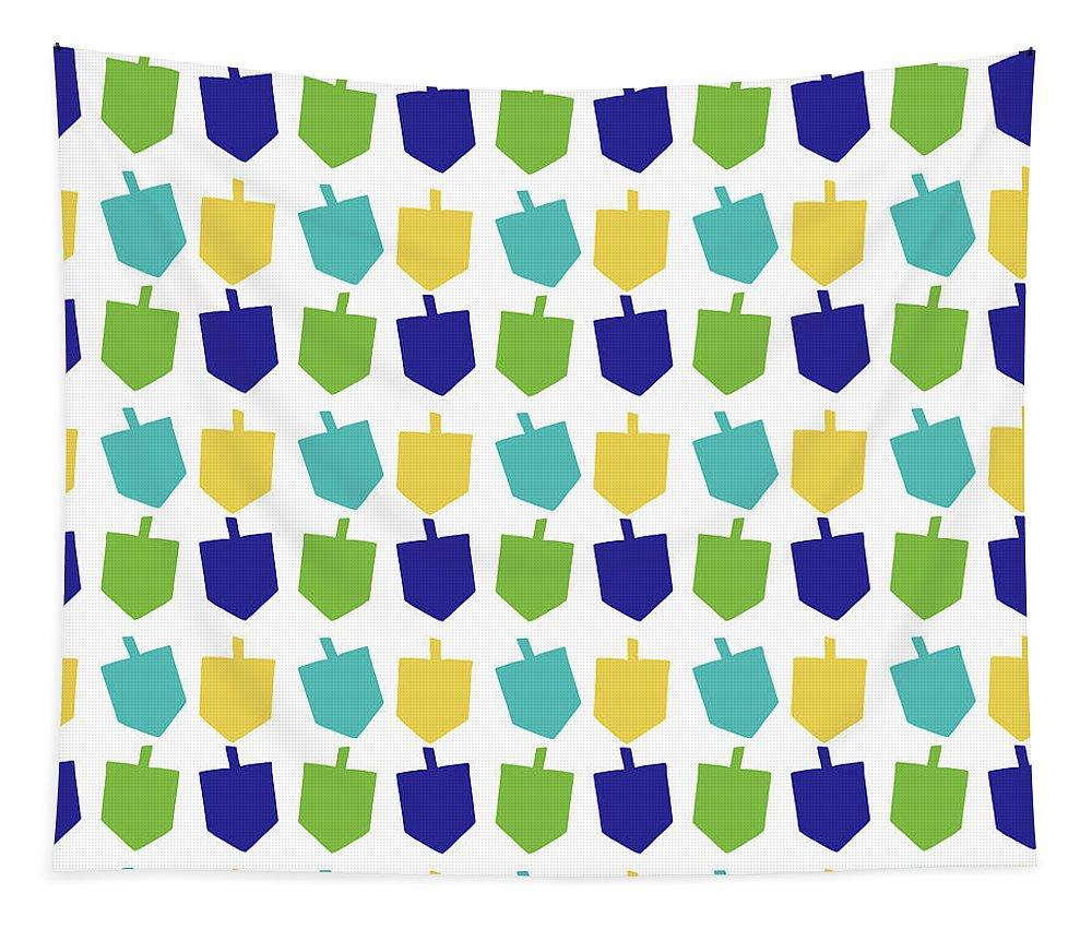 Hanukkah Tapestry featuring the digital art Four Dreidels Pattern- Art By Linda Woods by Linda Woods