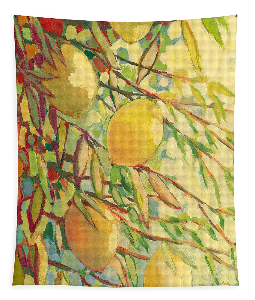 Lemon Tapestry featuring the painting Four Lemons by Jennifer Lommers