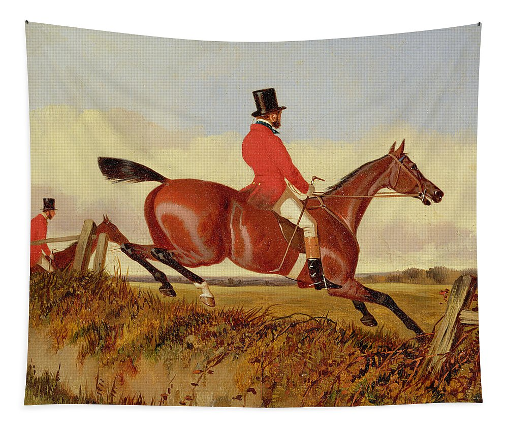 Xyc286482 Tapestry featuring the photograph Foxhunting - Clearing A Bank by John Dalby