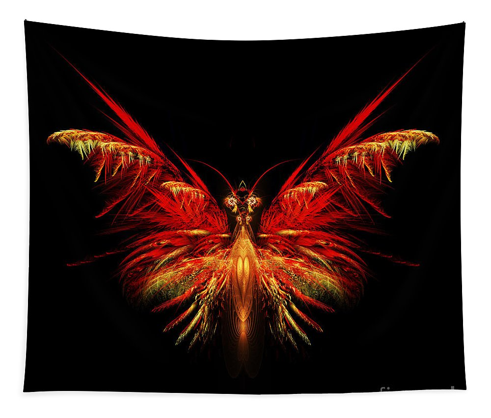 Flame Fractal Tapestry featuring the digital art Fractal Butterfly by John Edwards