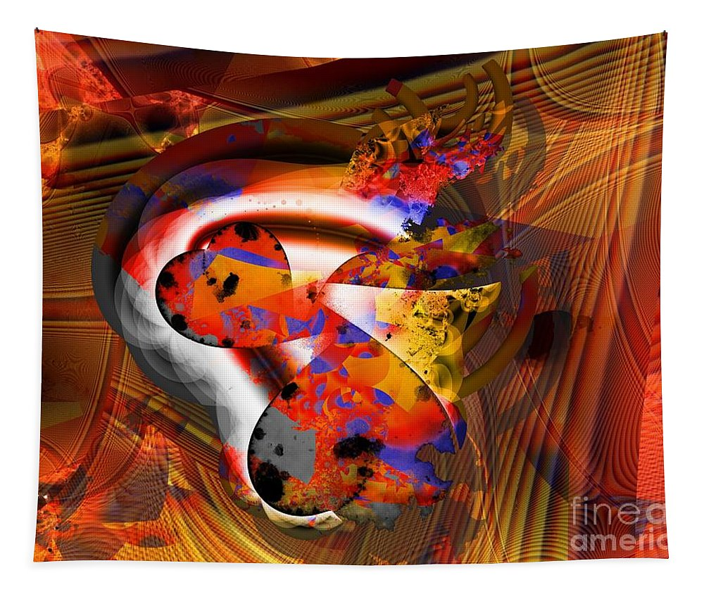 Heart Tapestry featuring the digital art Fractal Heart by Ron Bissett