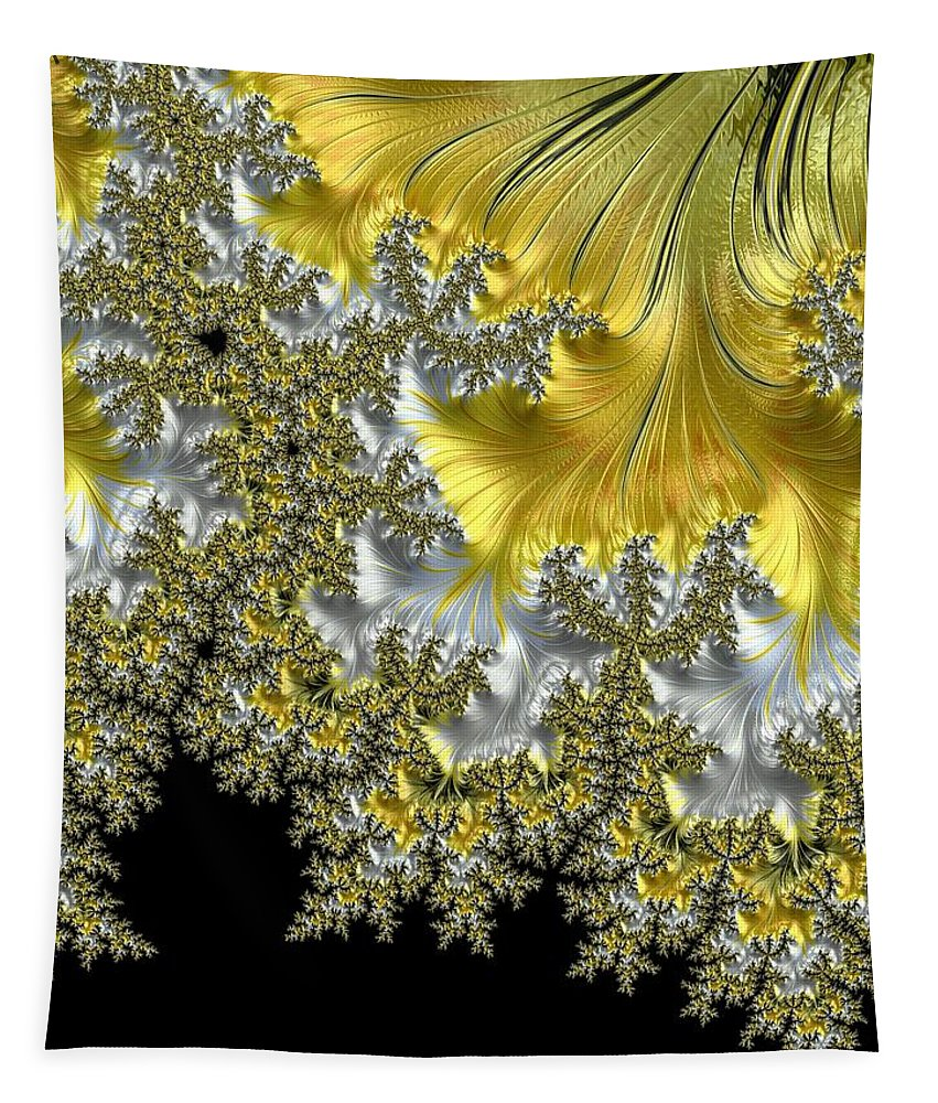 Fractal Tapestry featuring the photograph Fractal Landscape On Black by Mo Barton