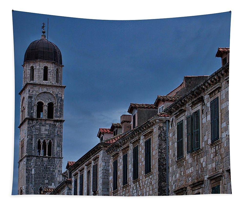 Franciscan Monastery Tapestry featuring the photograph Franciscan Monastery Tower - Dubrovnik by Stuart Litoff