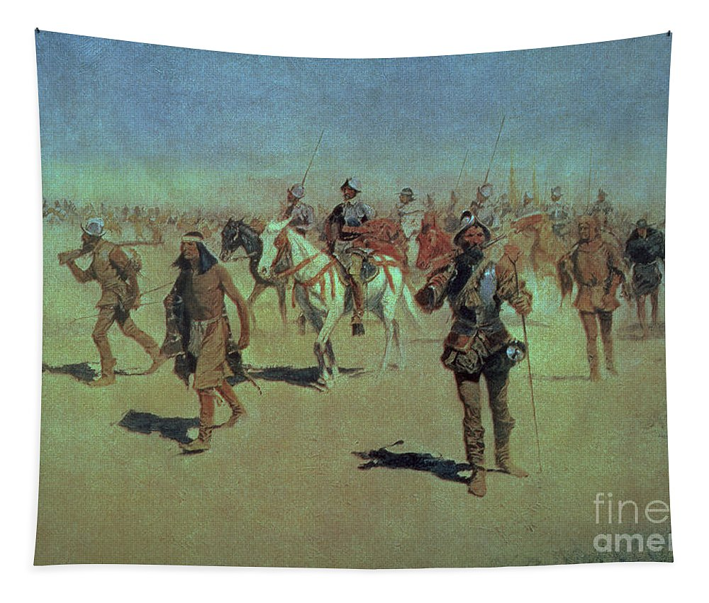 Francisco Tapestry featuring the painting Francisco Vasquez De Coronado Making His Way Across New Mexico by Frederic Remington