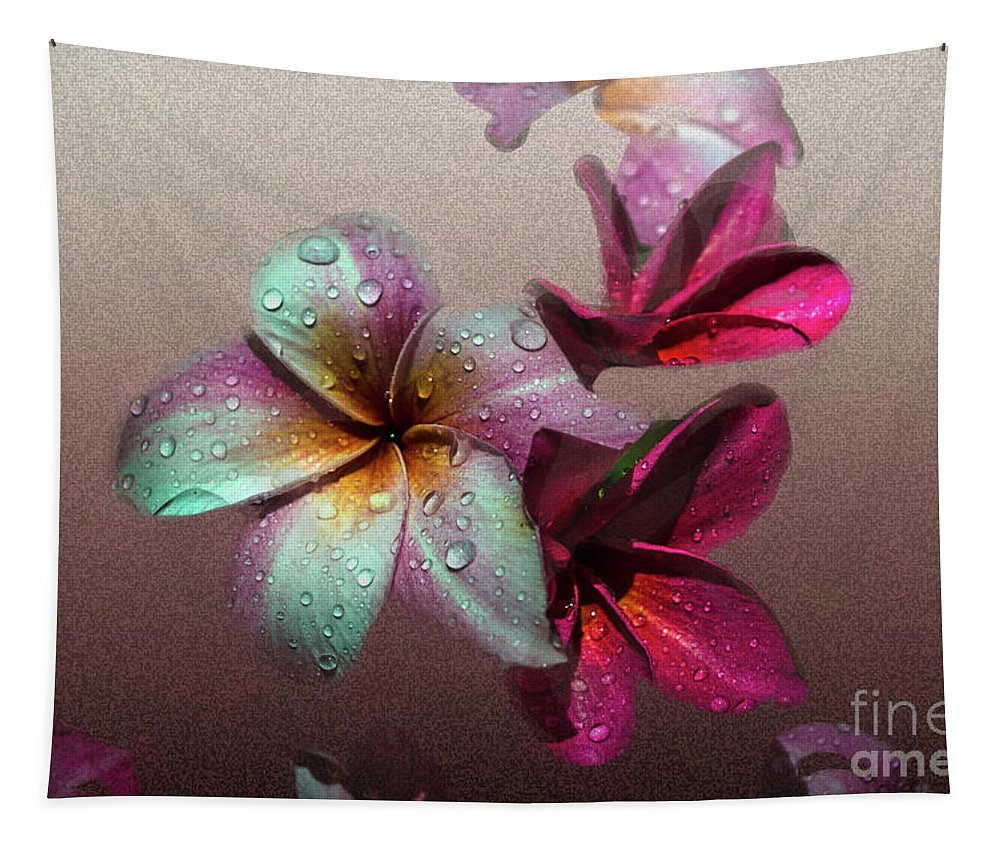 Michelle Meenawong Tapestry featuring the photograph Frangipani With Overlay by Michelle Meenawong