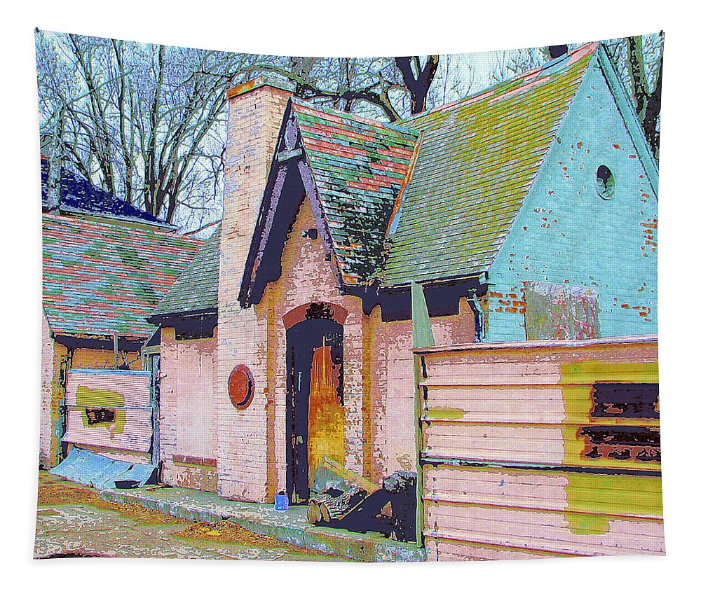 Old House Tapestry featuring the mixed media Frank Lloyd Wrong by Dominic Piperata