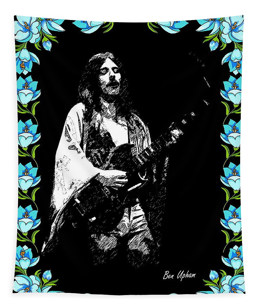 Frank Marino Tapestry featuring the photograph Frank Marino Of Mahogany Rush 4-14-78 by Ben Upham