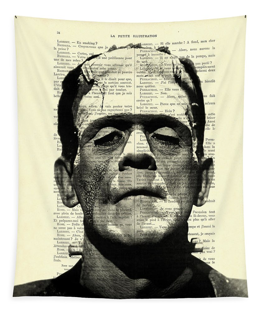 Black And White Tapestry featuring the digital art Frankenstein On Dictionary Page by Madame Memento