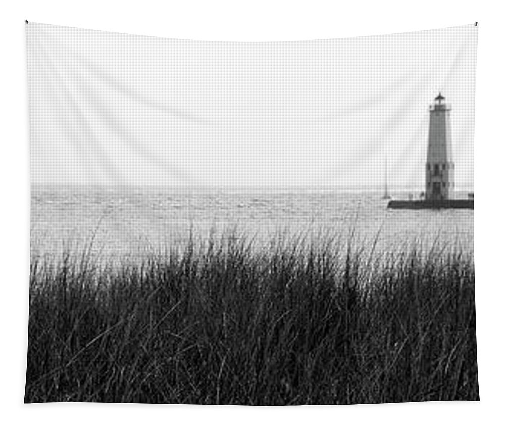 Frankfort Tapestry featuring the photograph Frankfort North Breakwater Lighthouse Michigan by Ralf Broskvar