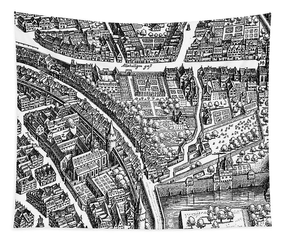 Frankfurt Tapestry featuring the drawing Frankfurt Am Main, 1628 by Matthaus Merian the Elder