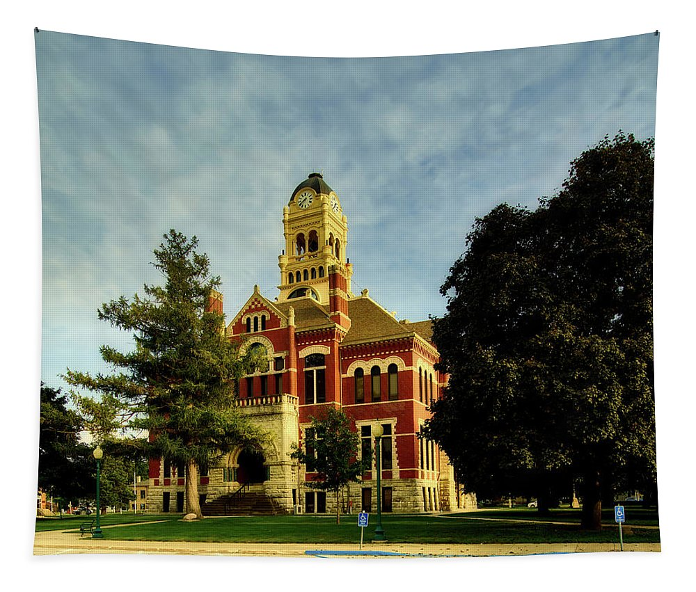 Franklin County Tapestry featuring the photograph Franklin County Courthouse - Hampton Iowa by Mountain Dreams