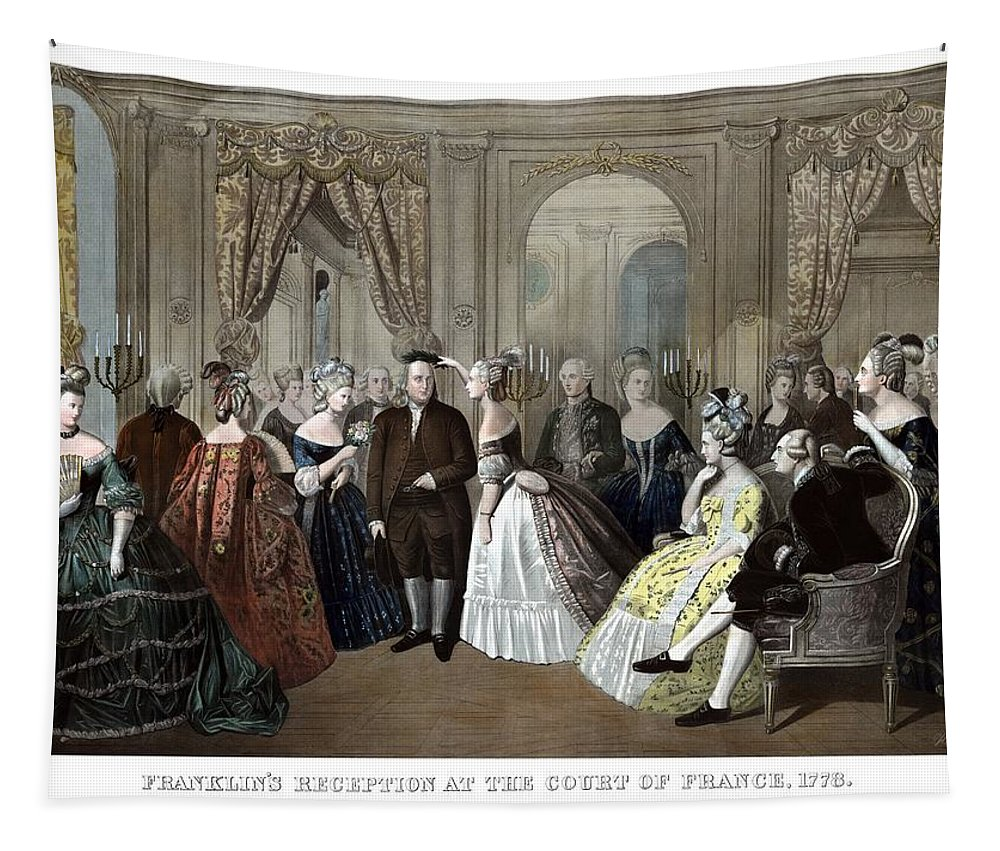 Benjamin Franklin Tapestry featuring the painting Franklin's Reception At The Court Of France by War Is Hell Store