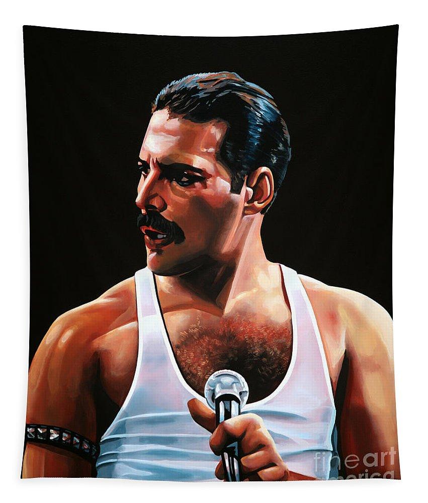 Freddie Mercury Tapestry featuring the painting Freddie Mercury by Paul Meijering
