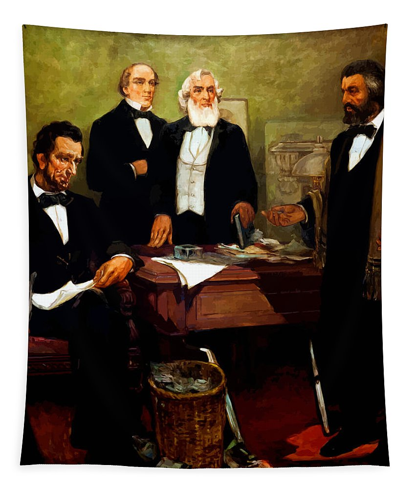 Frederick Douglass Tapestry featuring the painting Frederick Douglass Appealing To President Lincoln by War Is Hell Store