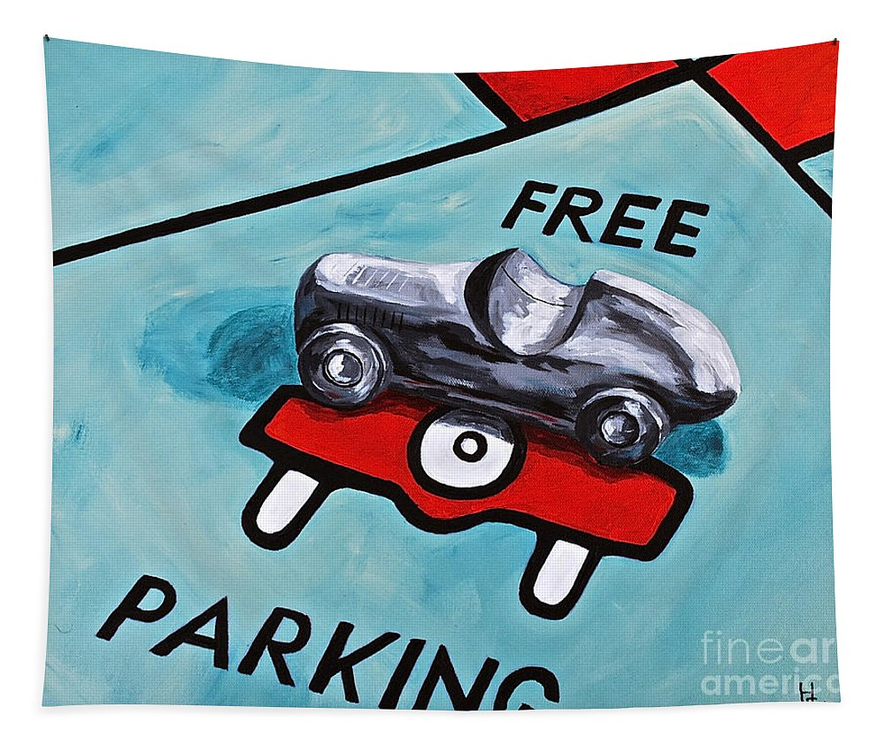 Still Life / Monopoly Toys Games Free Parking Kids Tapestry featuring the painting Free Parking by Herschel Fall