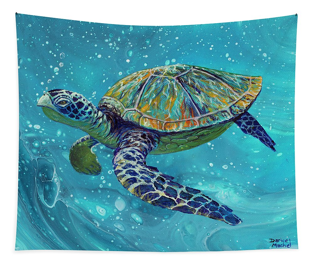 Sea Turtle Tapestry featuring the painting Free Spirit by Darice Machel McGuire