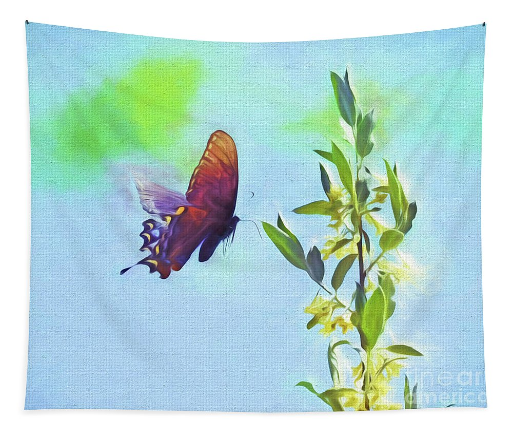 Butterfly Tapestry featuring the photograph Free To Fly - Butterfly In Flight by Kerri Farley