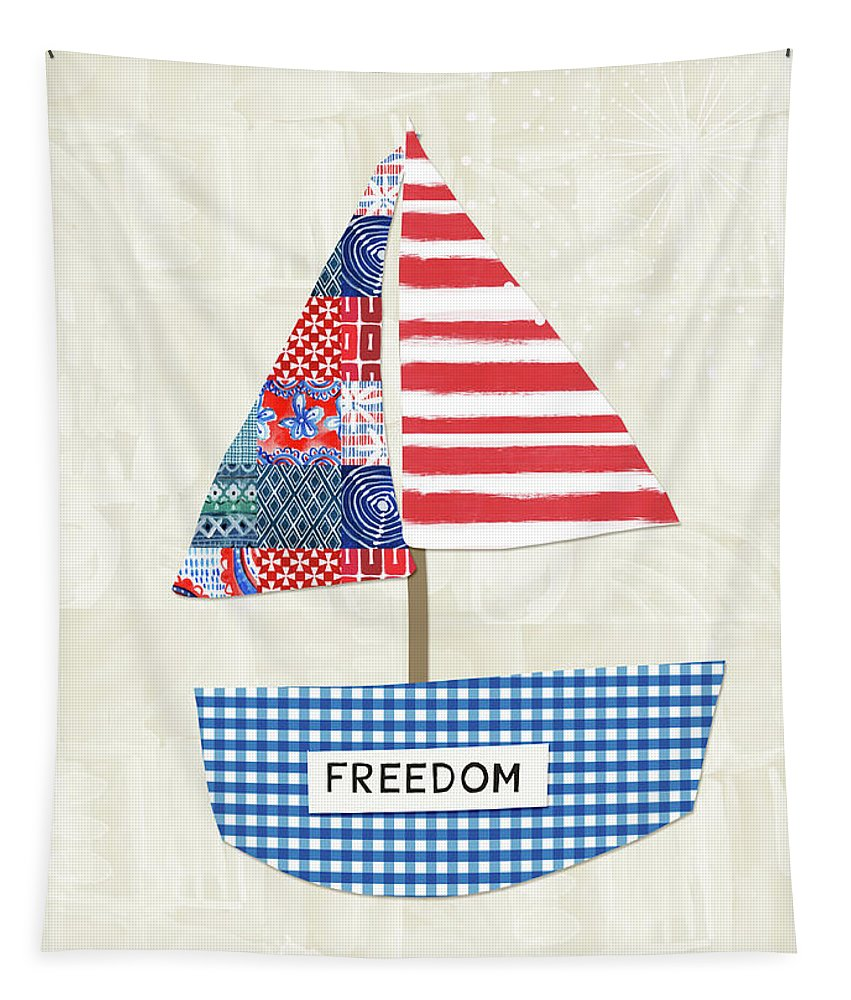 Red Tapestry featuring the mixed media Freedom Boat- Art By Linda Woods by Linda Woods