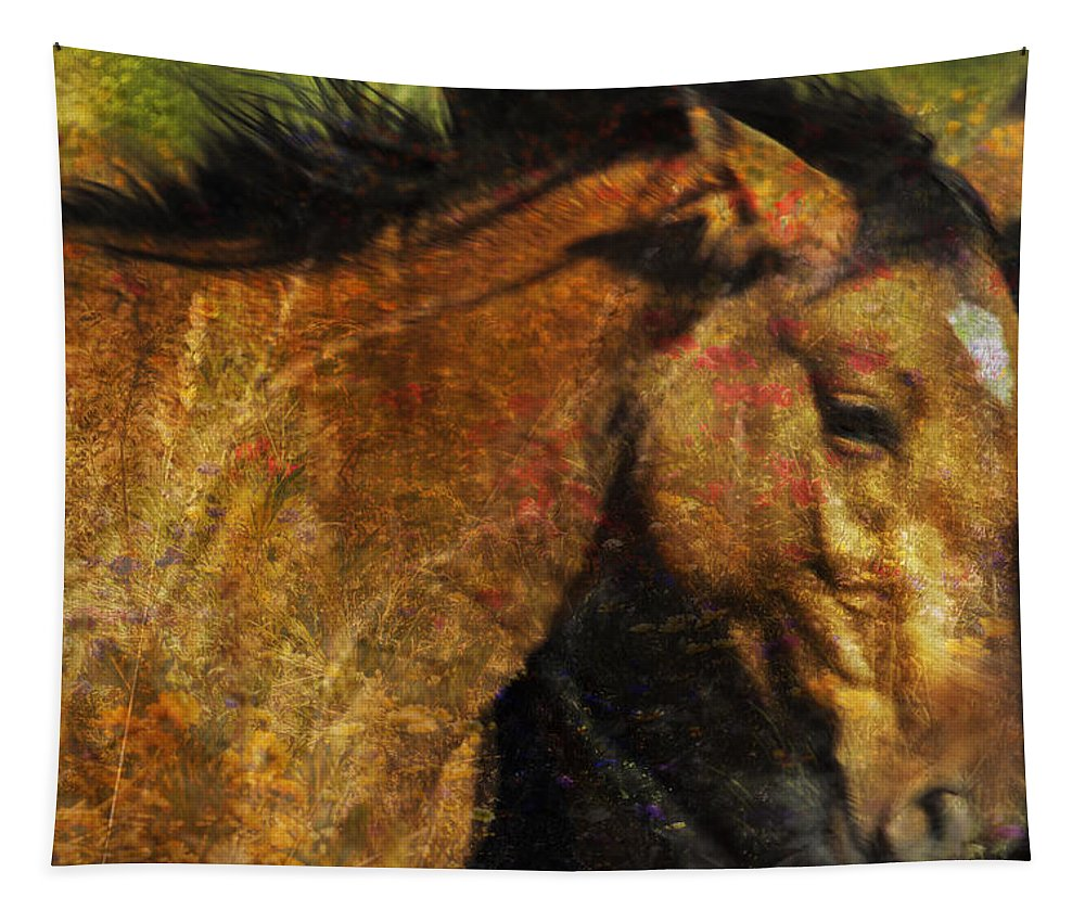 Pryor Mustangs Tapestry featuring the photograph Freedom Is Intrinsic by Belinda Greb