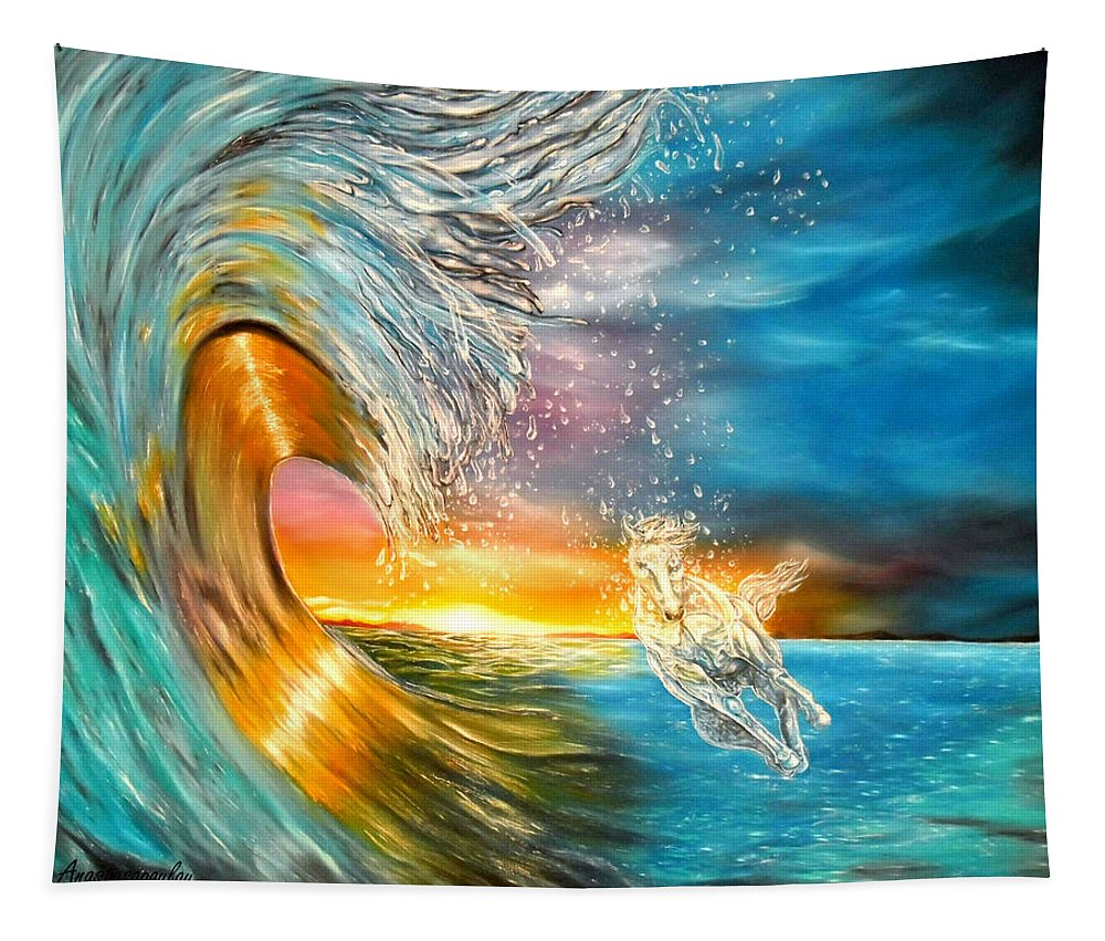 Waves Tapestry featuring the painting Freezing The Moment by Faye Anastasopoulou