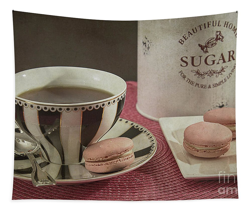 Coffee Tapestry featuring the photograph French Macarons 2 by Elisabeth Lucas