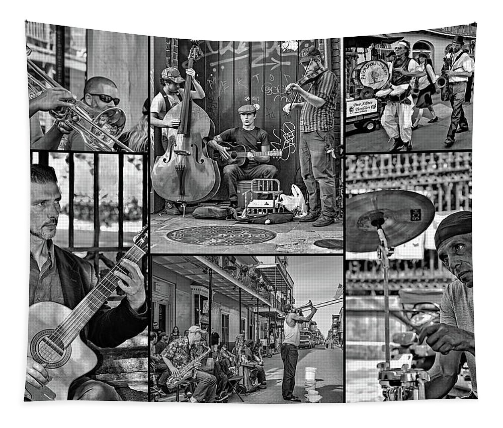French Quarter Tapestry featuring the photograph French Quarter Musicians Collage Bw by Steve Harrington