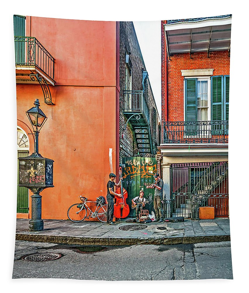 French Quarter Tapestry featuring the photograph French Quarter Trio by Steve Harrington