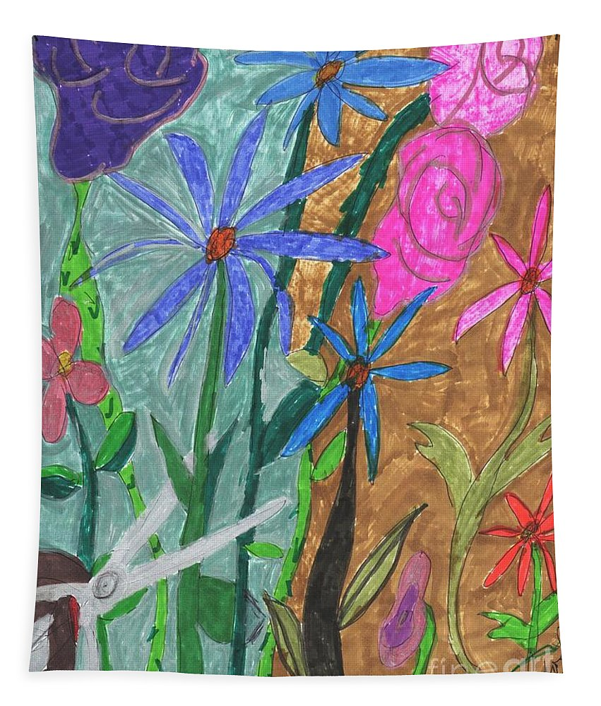 Flowers Being Cut With A Scissors Tapestry featuring the mixed media Fresh Cut Flowers by Elinor Helen Rakowski