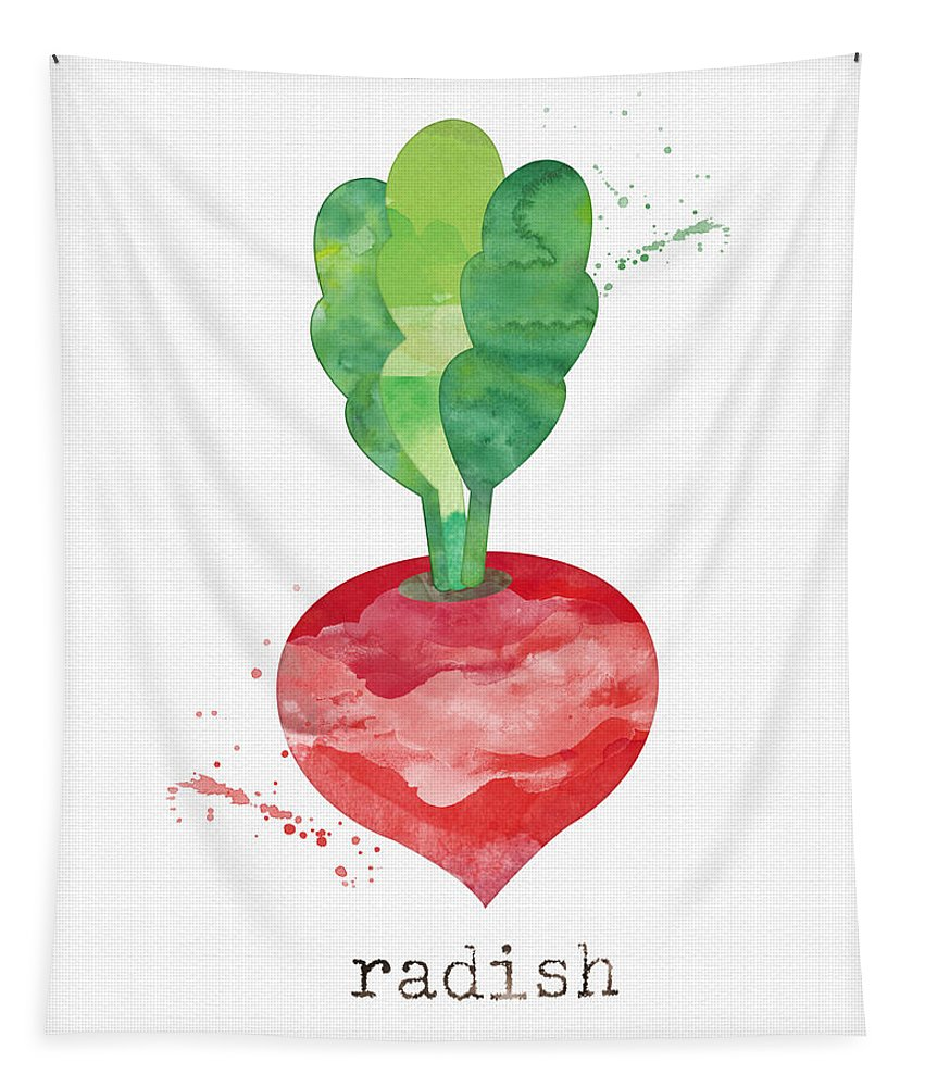 Radish Tapestry featuring the painting Fresh Radish by Linda Woods