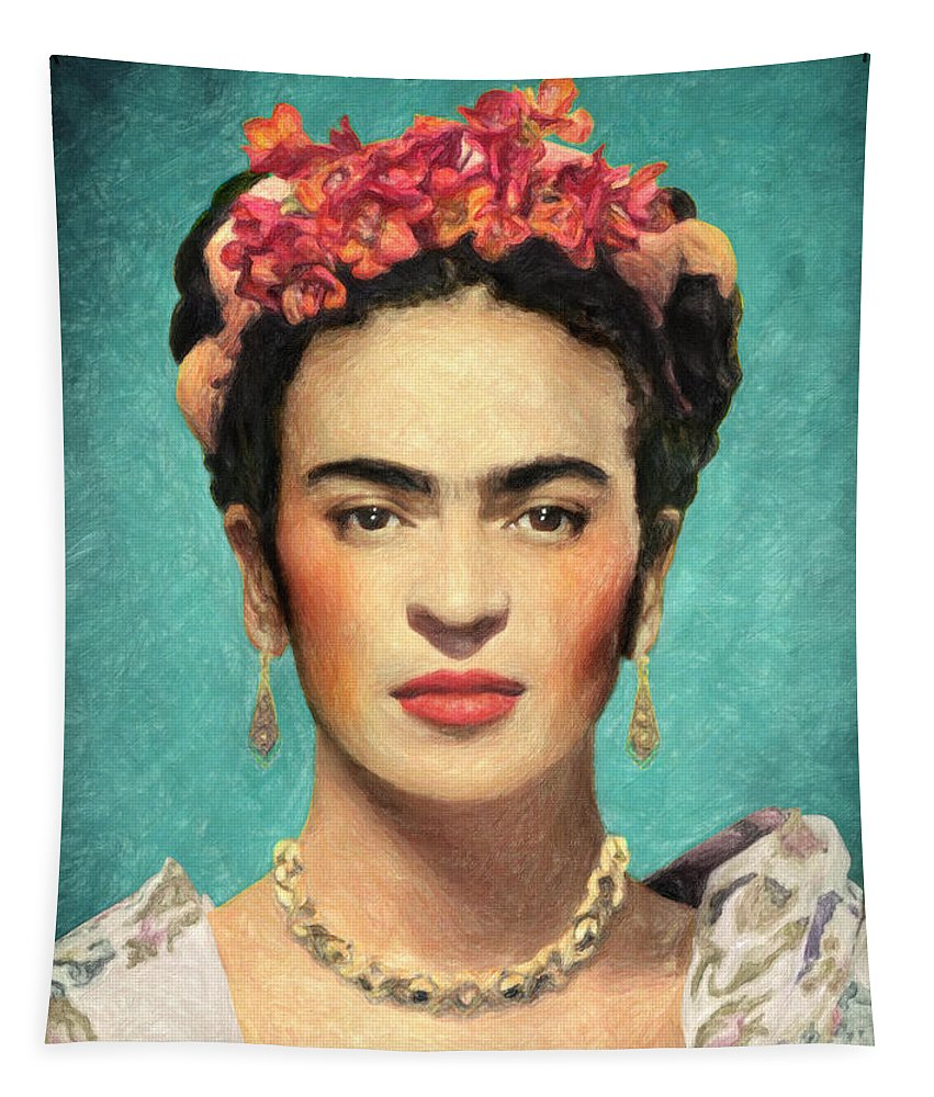 Frida Kahlo Tapestry featuring the painting Frida Kahlo by Zapista OU