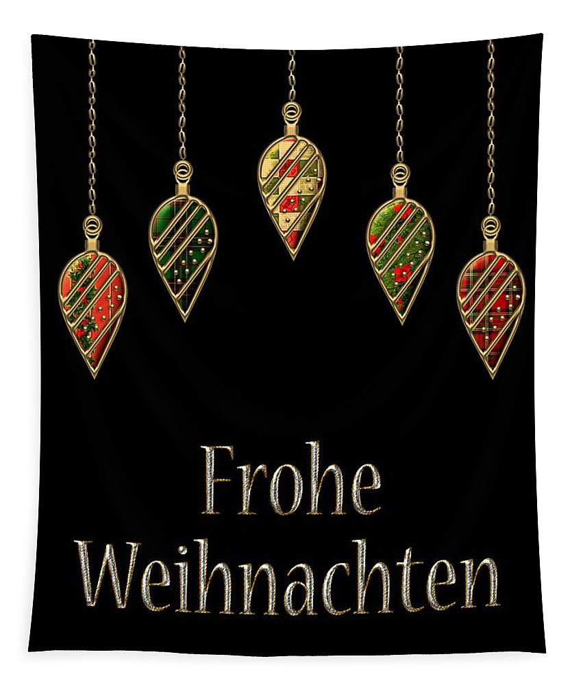 Red Tapestry featuring the digital art Frohe Weihnachten German Merry Christmas by Movie Poster Prints