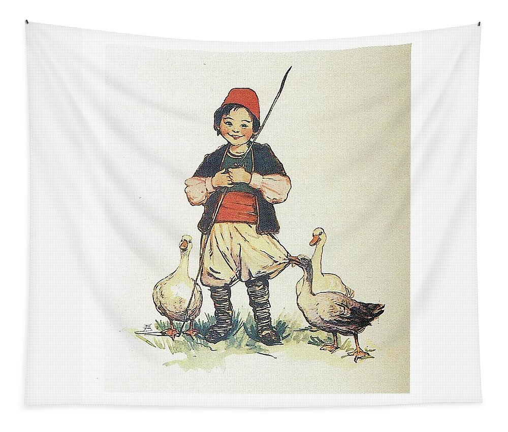 Swiss Tapestry featuring the painting Frolic For Fun Boy And Geese by Reynold Jay