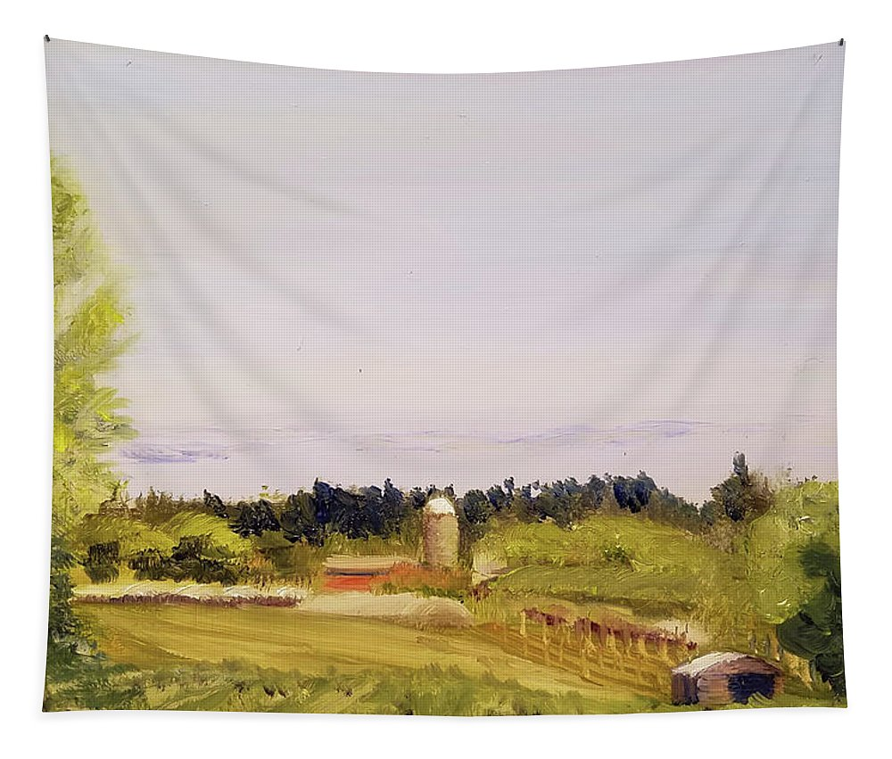 Aluminum Tapestry featuring the painting From Linden Row by Susan Hanna