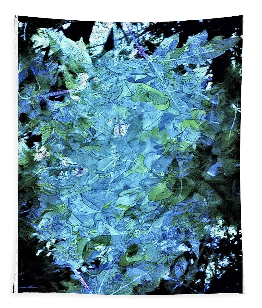 Blue Tapestry featuring the digital art From The Glory Of Trees Abstract by Debra Lynch