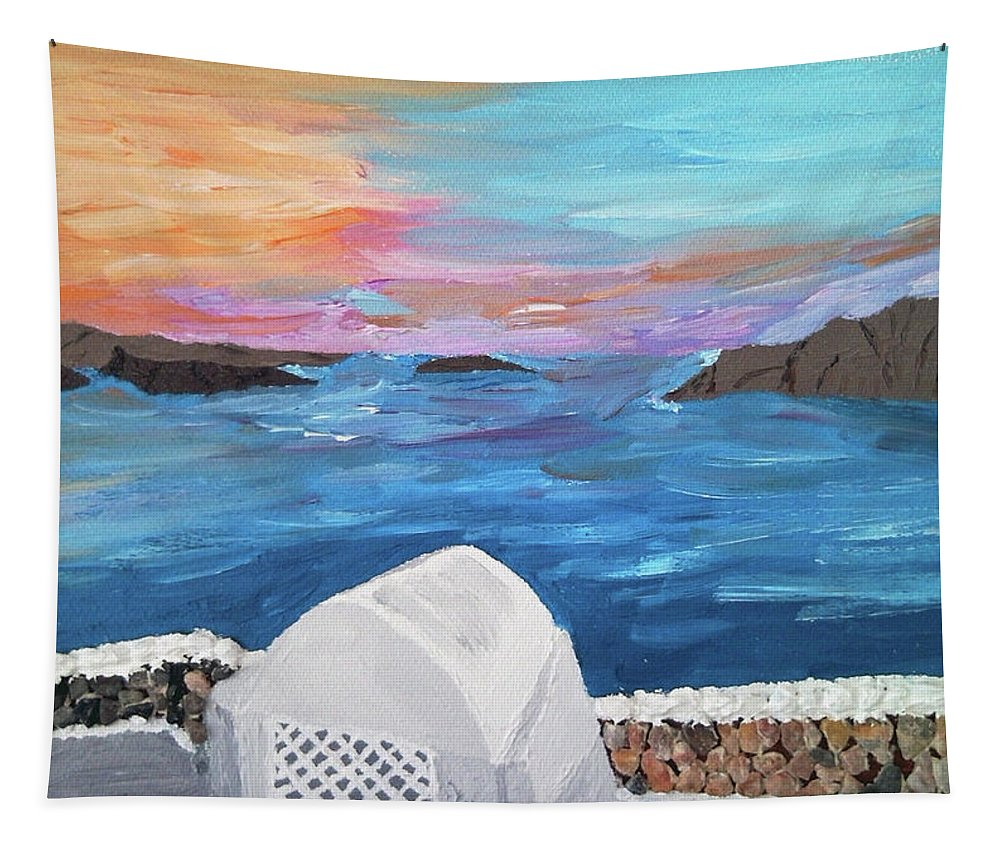 Seascape Tapestry featuring the painting From The Terrace by Maria Woithofer