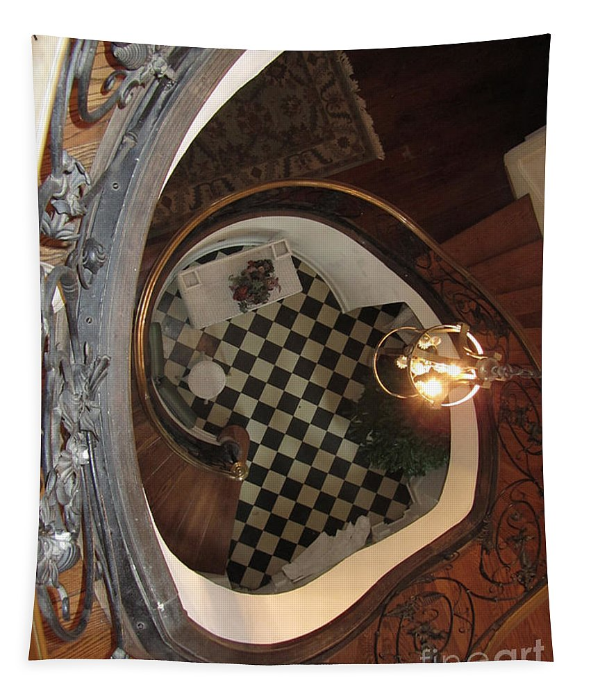 Stairway Tapestry featuring the photograph From The Top Looking Down by Donna Brown