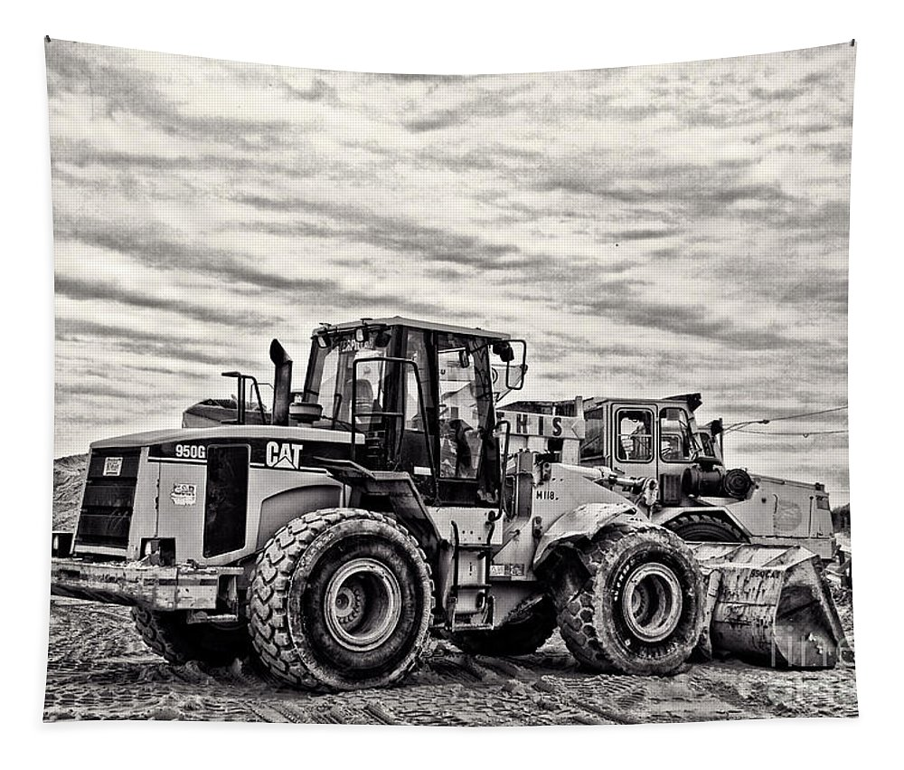 Truck Tapestry featuring the photograph Front End Loader Black And White by Tom Gari Gallery-Three-Photography