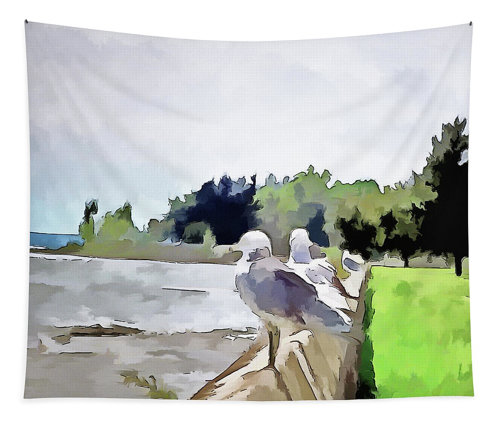 Fort Erie Tapestry featuring the digital art Front Row Seat by Leslie Montgomery