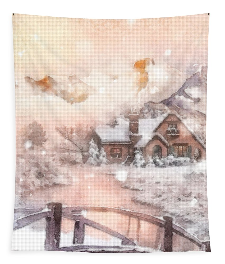Frosty Creek Tapestry featuring the painting Frosty Creek by Mo T