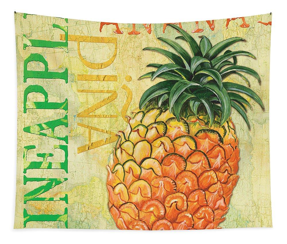Lemon Tapestry featuring the painting Froyo Pineapple by Debbie DeWitt
