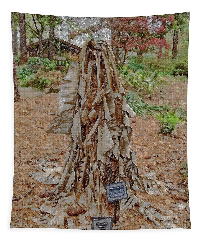 Photography Tapestry featuring the digital art Frozen Banana Tree In Colored Pencil by Marian Bell