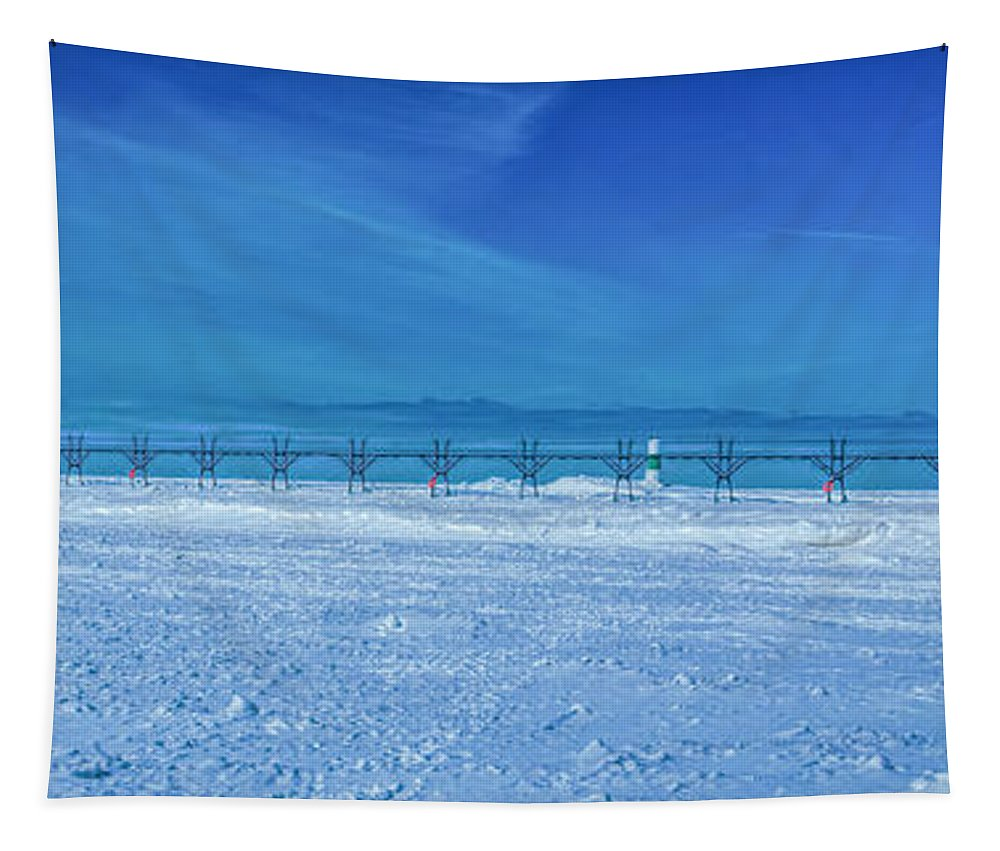 Frozen Tapestry featuring the photograph Frozen Lake Michgan At Grand Haven by Nick Zelinsky