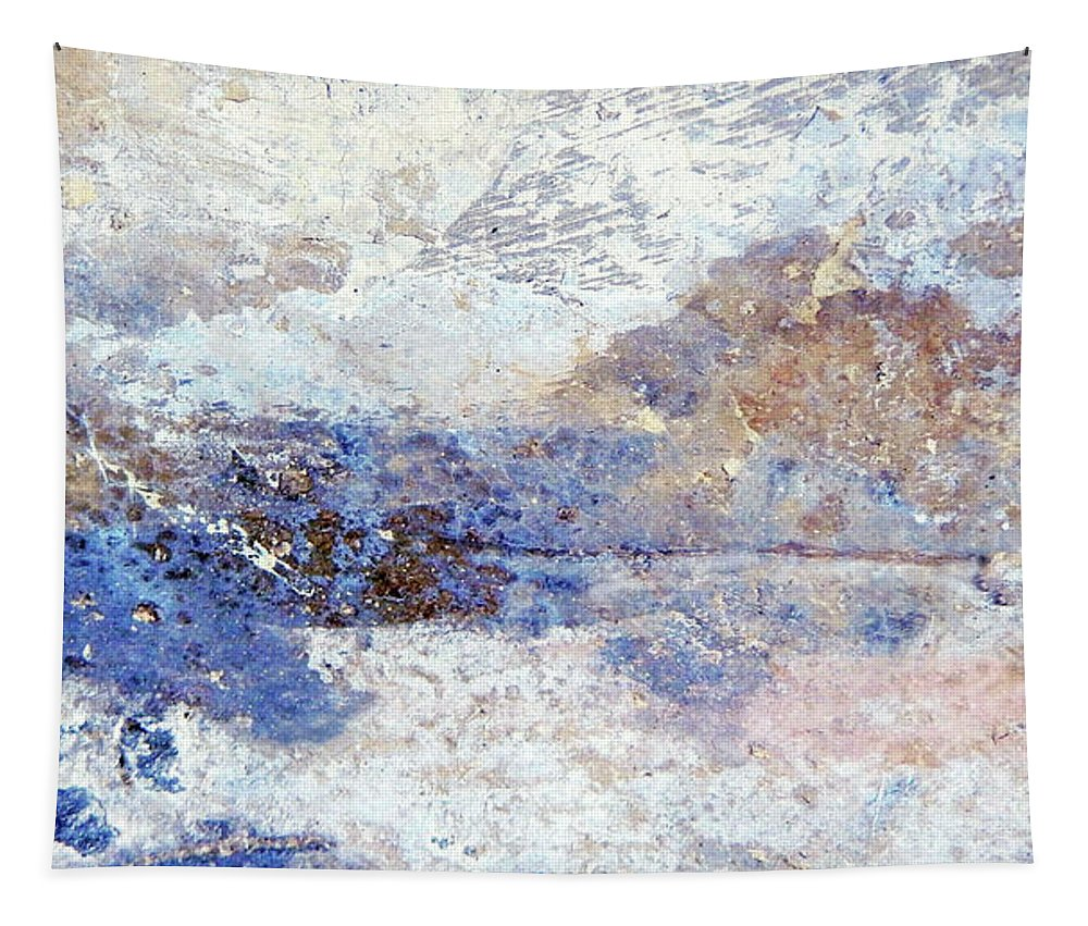 Abstract Tapestry featuring the mixed media Frozen Vista by Sharon Eng